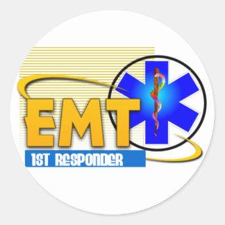 EMT 1ST RESPONDER EMERGENCY MEDICAL TECHNICIAN CLASSIC ROUND STICKER