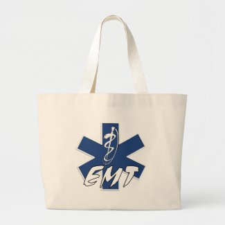 Classic EMS star of life designs on tote bags personalized for EMT's and paramedics.  Click to shop our EMS theme gifts here......