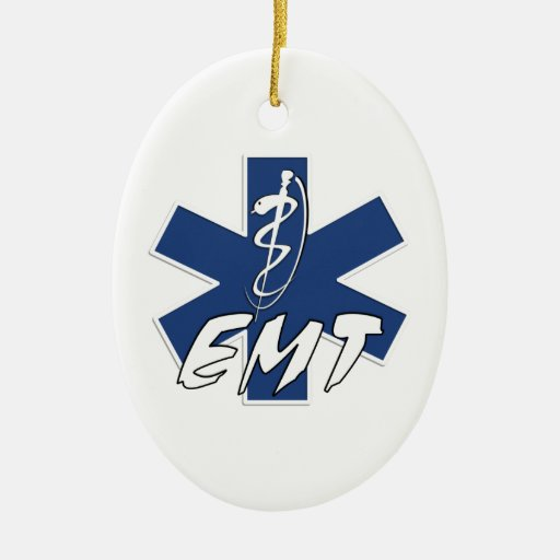 EMT Active Double-Sided Oval Ceramic Christmas Ornament