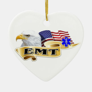 EMT American Pride Eagle Flag Double-Sided Heart Ceramic Christmas Ornament
