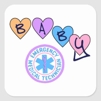 EMT Baby Star of Life Square Stickers