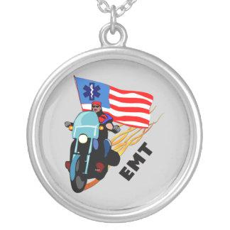 EMT Biker Round Pendant Necklace