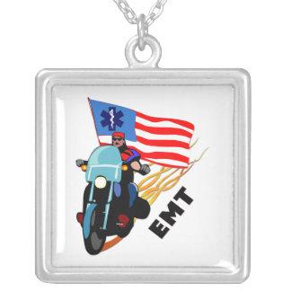EMT Biker Square Pendant Necklace