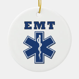 EMT BLUE STAR OF LIFE Double-Sided CERAMIC ROUND CHRISTMAS ORNAMENT