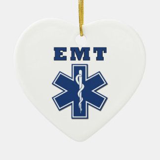 EMT BLUE STAR OF LIFE Double-Sided HEART CERAMIC CHRISTMAS ORNAMENT