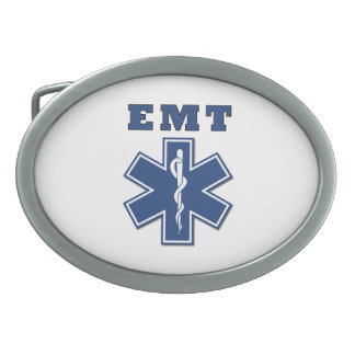 EMT Blue Star Of Life Oval Belt Buckle