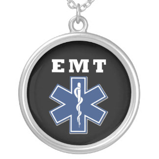 EMT Blue Star of Life Round Pendant Necklace