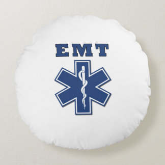 EMT Blue Star of Life Round Pillow