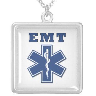 EMT BLUE STAR OF LIFE SQUARE PENDANT NECKLACE