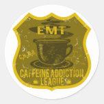 EMT Caffeine Addiction League Round Stickers