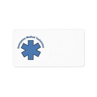 EMT Emergency Medical Tech Address Label