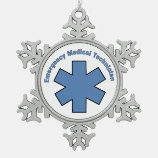 EMT Emergency Medical Tech Snowflake Pewter Christmas Ornament