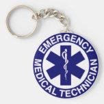 EMT Emergency Medical Technician Basic Round Button Keychain