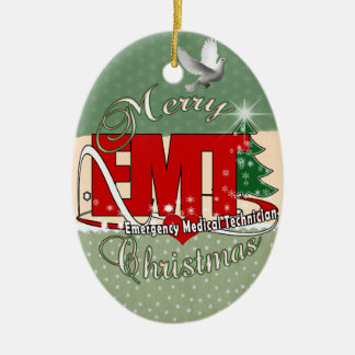EMT Emergency Medical Technician CHRISTMAS Double-Sided Oval Ceramic Christmas Ornament