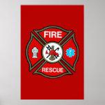 EMT Firefighter Maltese Cross Poster