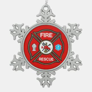 EMT Firefighter Maltese Cross Snowflake Pewter Christmas Ornament