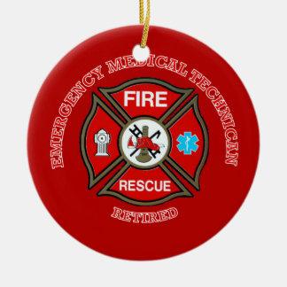 EMT Firefighter Retired Maltese Cross Ceramic Ornament