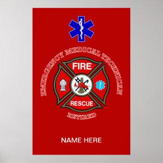 EMT Firefighter Retired Maltese Cross Posters