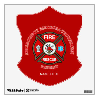 EMT Firefighter Retired Maltese Cross Wall Sticker
