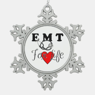 EMT For Life Snowflake Pewter Christmas Ornament
