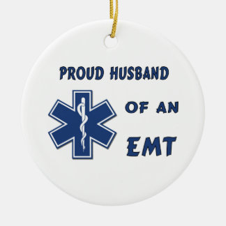 EMT Husband Double-Sided Ceramic Round Christmas Ornament