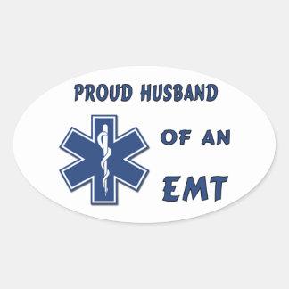 EMT Husband Oval Stickers
