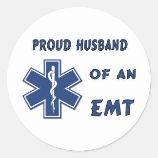 EMT Husband Round Stickers