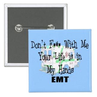 """EMT """"no hacen F--- Conmigo"""" camisetas/regalos dive Pin Cuadrada 5 Cm"""