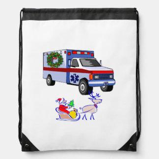 EMT Paramedic Christmas Santa Drawstring Backpack