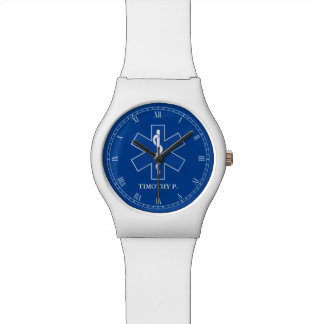 EMT Paramedic Symbol Custom Wrist Watch