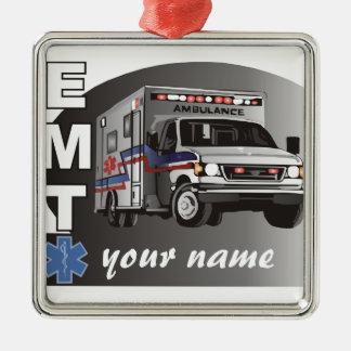 EMT personalizado Adorno Cuadrado Plateado