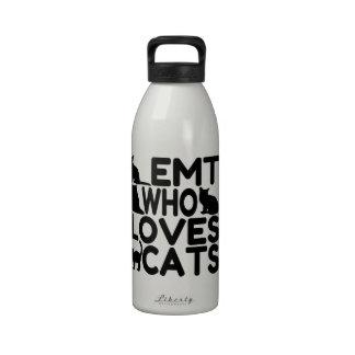 EMT que ama gatos Botella De Beber