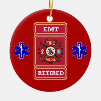 EMT Retired Maltese Cross Shield Ceramic Ornament