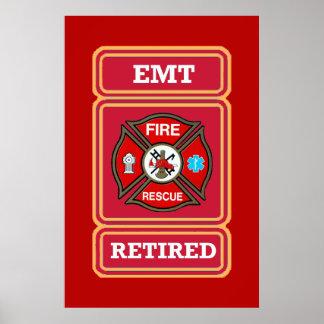 EMT Retired Maltese Cross Shield Print
