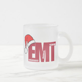 EMT SANTA - CHRISTMAS EMERGENCY MEDICAL TECHNICIAN FROSTED GLASS COFFEE MUG