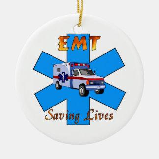 EMT Saving Lives Ceramic Ornament