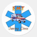 EMT Saving Lives Classic Round Sticker