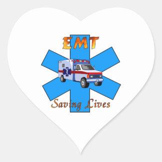 EMT Saving Lives Heart Sticker