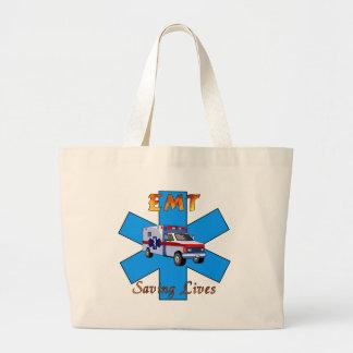 EMT Saving Lives Large Tote Bag