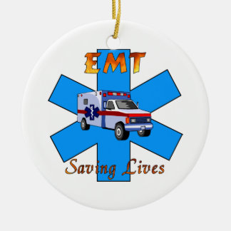 EMT Saving Lives Double-Sided Ceramic Round Christmas Ornament