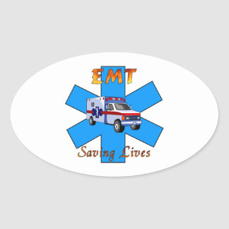 EMT Saving Lives Oval Sticker