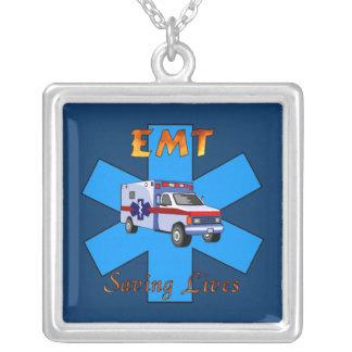 EMT Saving Lives Square Pendant Necklace