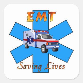 EMT Saving Lives Square Sticker