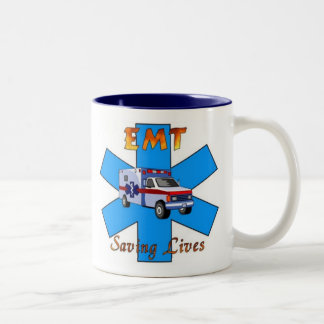 EMT Saving Lives Two-Tone Coffee Mug