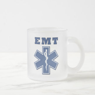 EMT Star of Life 10 Oz Frosted Glass Coffee Mug