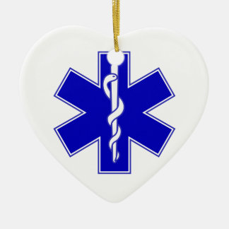 EMT Star of Life Double-Sided Heart Ceramic Christmas Ornament