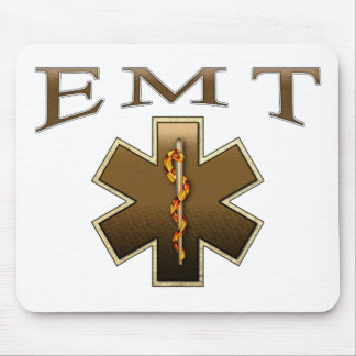 EMT - Star of Life in Brown Mouse Pad