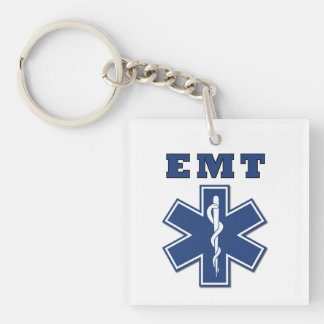 EMT Star of Life Double-Sided Square Acrylic Keychain