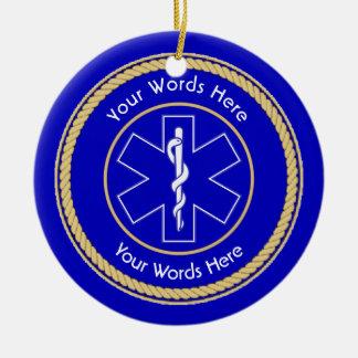 EMT Star of Life Rope Shield Universal Ceramic Ornament