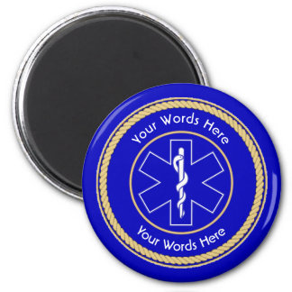 EMT Star of Life Rope Shield Universal 2 Inch Round Magnet